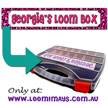 Personalised Loom Band Storage Box and Carry Case - Leopardi Design - Pink