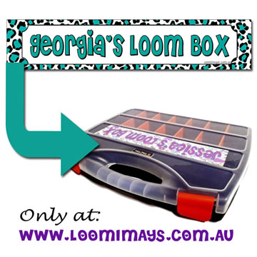 Personalised Loom Band Storage Box and Carry Case - Leopardi Design - Teal