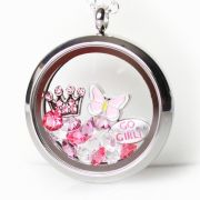 Floating Memory Locket Readymade - Pretty In Pink Theme