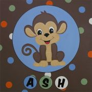 Personalised Kids Name Canvas Wall Art Canvas Name Plaque Personalised - Handpainted Monkey
