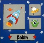 Personalised Kids Name Canvas Wall Art Canvas Name Plaque Personalised - Handpainted Space