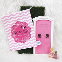 Tooth Fairy Bag Personalised for Kids - Pink Doily Girls