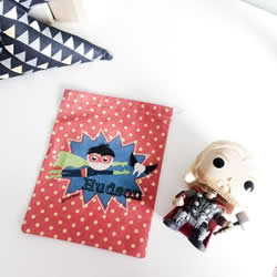 Tooth Fairy Bag Personalised for Kids - Superhero Boys Red