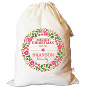 Christmas Santa Sack Personalised - Merry Christmas Wreath