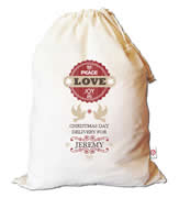 Christmas Santa Sack Personalised - Peace Love Joy