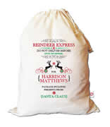 Christmas Santa Sack Personalised - Reindeer Express
