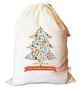 Christmas Santa Sack Personalised - Tree Collage