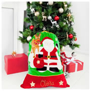 Christmas Santa Sack Personalised - Reindeer - Hand Painted