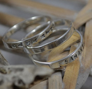 Personalised Name Ring - 3 x 3mm Silver rings