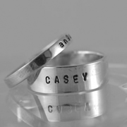 Personalised Name Ring - 6mm with 3mm Sterling Silver Bands
