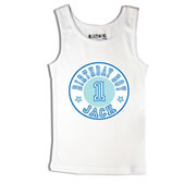 Birthday Number Blue - Singlet Personalised for Kids