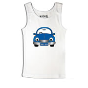Blue Car - Singlet Personalised for Kids