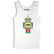 Blue Robot - Singlet Personalised for Kids