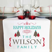 Personalised Table Runner  - Happy Holidays