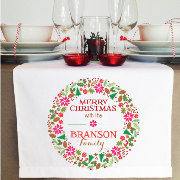 Personalised Table Runner  - Merry Christmas Wreath