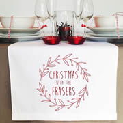 Personalised Table Runner  - Red Wreath