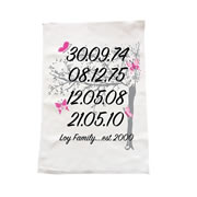 Personalised Christmas Tea Towel - Family Dates