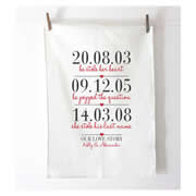 Personalised Tea Towel - 3 Dates Our Love Story