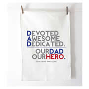 Personalised Tea Towel - Our Dad Our Hero