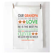 Personalised Tea Towel - Personalised Bus Scroll Orange and Green