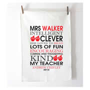 Personalised Tea Towel - Teacher Bus Scroll
