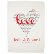 Personalised Tea Towel - Lovers Hearts