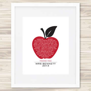 Personalised Wall Art Print for Teacher - An Apple A Day