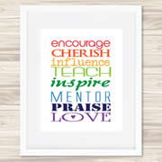 Personalised Wall Art Print for Teacher - Colourful Encouragement