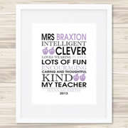Personalised Wall Art Print for Teacher - My Teacher - Purple