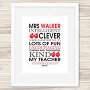 Personalised Wall Art Print for Teacher - My Teacher - Red