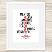 Personalised Wall Art Print for Teacher - Teacher Typography