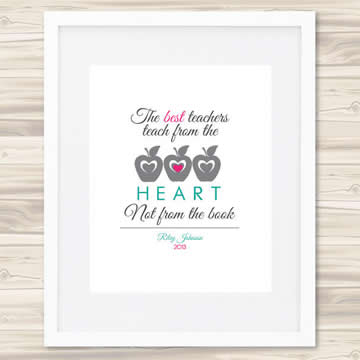 Personalised Wall Art Print for Teacher - The Heart