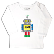 Personalised clothing for kids - Blue Robot - T-Shirt Personalised for Kids