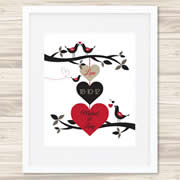 Personalised Wall Art Print - Wedding/Love Print - 3 Hearts