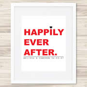 Personalised Wall Art Print - Wedding/Love Print - Happily Ever After