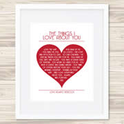 Personalised Wall Art Print - Wedding/Love Print - The Things I Love About You
