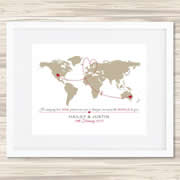 Personalised Wall Art Print - Wedding/Love Print - The World