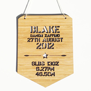 Personalised wooden bamboo wall hanging  - Birth Details Boys