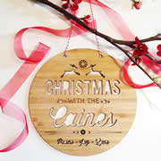 .Personalised wooden bamboo wall hanging  - Christmas