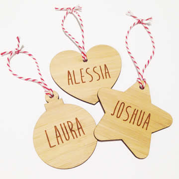 Personalised wooden bamboo letters - Christmas Bamboo Name Ornaments