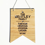 Personalised wooden bamboo wall hanging  - The Family