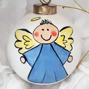 Bauble Christmas Handpainted Ceramic and Personalised Angel - boy OR girl