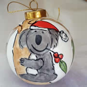 Bauble Christmas Handpainted Ceramic and Personalised Aussie Koala