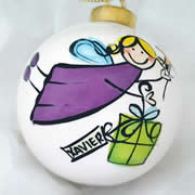 Bauble Christmas Handpainted Ceramic and Personalised Christmas Present Fairy