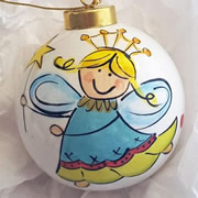 Bauble Christmas Handpainted Ceramic and Personalised Christmas Dancing Fairy
