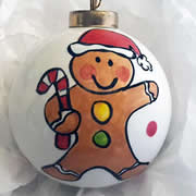 Bauble Christmas Handpainted Ceramic and Personalised Ginger Bread Man