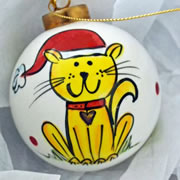 Bauble Christmas Handpainted Ceramic and Personalised Kitty