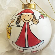 Bauble Christmas Handpainted Ceramic and Personalised Merrie Christmas
