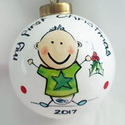 Bauble Christmas Handpainted Ceramic and Personalised My First Christmas
