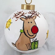 Bauble Christmas Handpainted Ceramic and Personalised Pressie Rudolph